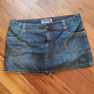 Jean mini low waist skirt with shorts under